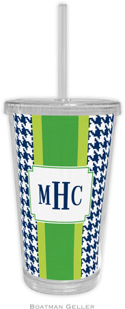 Boatman Geller - Personalized Beverage Tumblers (Alex Houndstooth Navy)