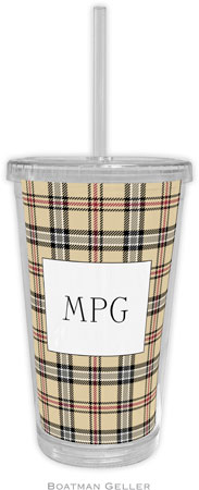 Boatman Geller - Personalized Beverage Tumblers (Town Plaid)