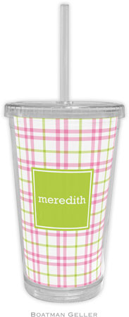 Boatman Geller - Personalized Beverage Tumblers (Miller Check Pink & Green Preset)