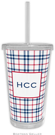 Boatman Geller - Personalized Beverage Tumblers (Miller Check Navy & Red)