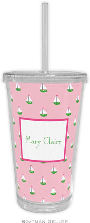 Boatman Geller - Personalized Beverage Tumblers (Little Sailboat Pink)