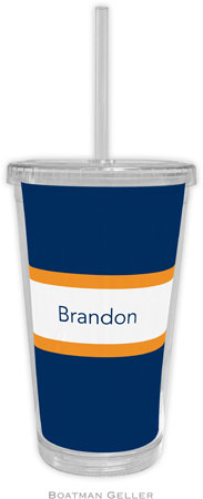 Boatman Geller - Personalized Beverage Tumblers (Stripe Navy & Tangerine)