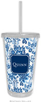 Boatman Geller - Personalized Beverage Tumblers (Classic Floral Blue Preset)