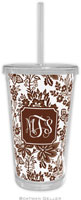 Boatman Geller - Personalized Beverage Tumblers (Classic Floral Brown Preset)