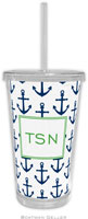 Boatman Geller - Personalized Beverage Tumblers (Anchors Navy)