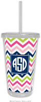 Boatman Geller - Personalized Beverage Tumblers (Chevron Pink Navy & Lime Preset)