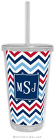 Boatman Geller - Personalized Beverage Tumblers (Chevron Blue & Red Preset)
