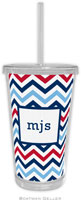 Boatman Geller - Personalized Beverage Tumblers (Chevron Blue & Red)