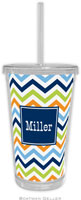 Boatman Geller - Personalized Beverage Tumblers (Chevron Blue Orange & Lime Preset)