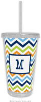 Boatman Geller - Personalized Beverage Tumblers (Chevron Blue Orange & Lime)