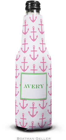 Boatman Geller - Personalized Bottle Koozies (Anchors Pink)