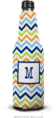 Boatman Geller - Personalized Bottle Koozies (Chevron Blue Orange & Lime)