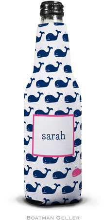 Boatman Geller - Personalized Bottle Koozies (Whale Repeat Navy)