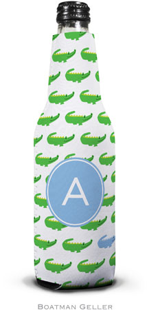 Boatman Geller - Personalized Bottle Koozies (Alligator Repeat Blue Preset)