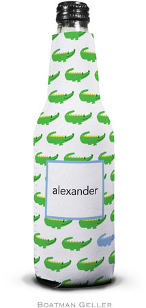 Boatman Geller - Personalized Bottle Koozies (Alligator Repeat Blue)