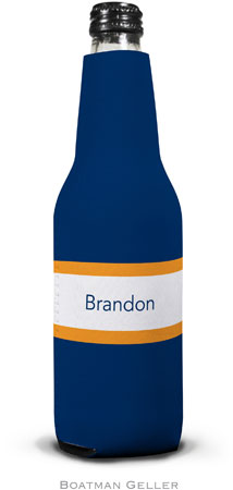 Boatman Geller - Personalized Bottle Koozies (Stripe Navy & Tangerine)