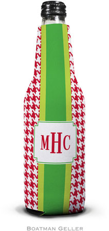 Boatman Geller - Personalized Bottle Koozies (Alex Houndstooth Red)