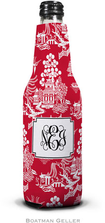 Boatman Geller - Personalized Bottle Koozies (Chinoiserie Red)