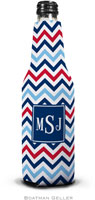 Boatman Geller - Personalized Bottle Koozies (Chevron Blue & Red Preset)