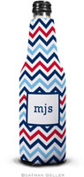 Boatman Geller - Personalized Bottle Koozies (Chevron Blue & Red)