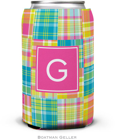 Boatman Geller - Personalized Can Koozies (Madras Patch Bright Preset)