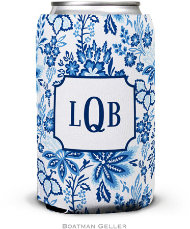 Boatman Geller - Personalized Can Koozies (Classic Floral Blue)