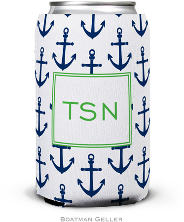 Boatman Geller - Personalized Can Koozies (Anchors Navy)