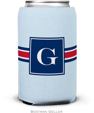 Boatman Geller - Personalized Can Koozies (Seersucker Band Red & Navy)