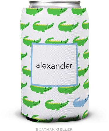 Boatman Geller - Personalized Can Koozies (Alligator Repeat Blue)