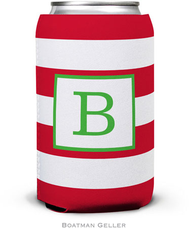 Boatman Geller - Personalized Can Koozies (Awning Stripe Red)