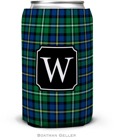 Boatman Geller - Personalized Can Koozies (Black Watch Plaid Preset)