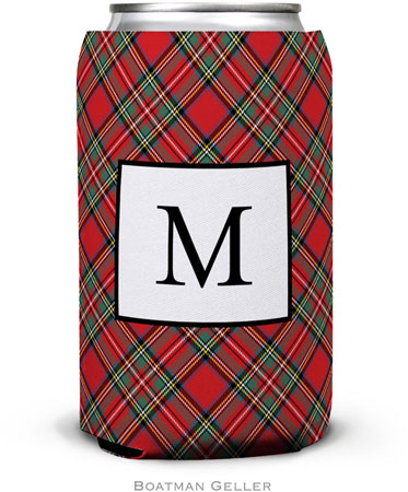 Boatman Geller - Personalized Can Koozies (Plaid Red)