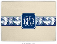 Boatman Geller - Personalized Cutting Boards (Greek Key Band Navy Preset)