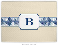 Boatman Geller - Personalized Cutting Boards (Greek Key Band Navy)