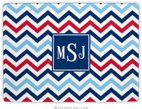 Boatman Geller - Personalized Cutting Boards (Chevron Blue & Red Preset)
