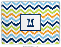 Boatman Geller - Personalized Cutting Boards (Chevron Blue Orange & Lime)