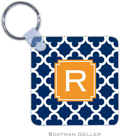 Boatman Geller - Create-Your-Own Personalized Key Chains (Bristol Tile Navy Preset)