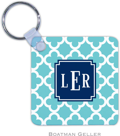 Boatman Geller - Create-Your-Own Personalized Key Chains (Bristol Tile Teal Preset)