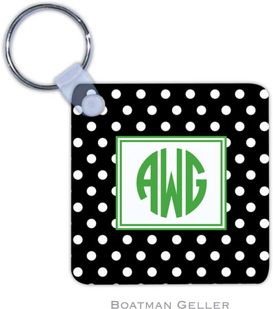 Boatman Geller - Create-Your-Own Personalized Key Chains (Polka Dot Black Preset)
