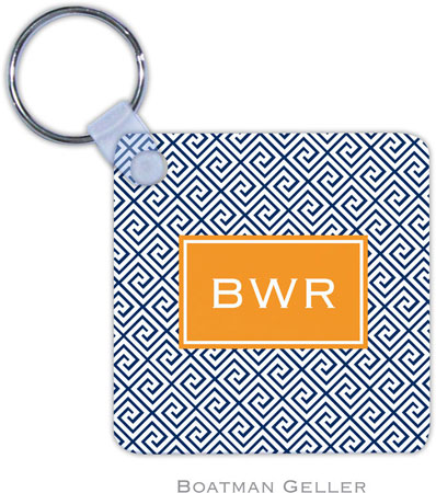 Boatman Geller - Create-Your-Own Personalized Key Chains (Greek Key Navy Preset)