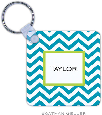 Boatman Geller - Create-Your-Own Personalized Key Chains (Chevron Turquoise)