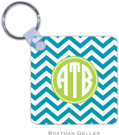 Boatman Geller - Create-Your-Own Personalized Key Chains (Chevron Turquoise Preset)