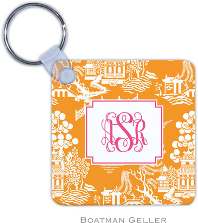 Boatman Geller - Create-Your-Own Personalized Key Chains (Chinoiserie Tangerine Preset)