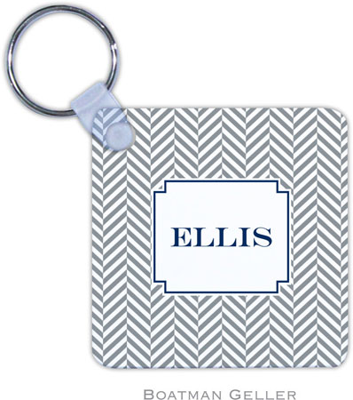 Boatman Geller - Create-Your-Own Personalized Key Chains (Herringbone Gray)