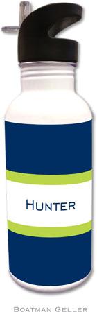 Boatman Geller - Personalized Water Bottles (Stripe Navy & Lime)