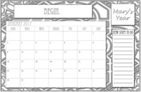 Personalized Coloring Calendar for 2017