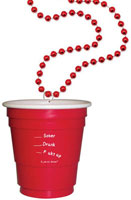Mini 2 Oz Red Solo Shot Cup On Beaded Necklace:   6 Necklaces Per Set