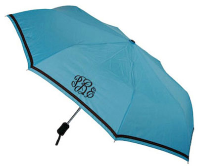 Adult Umbrellas - Aqua with Brown Trim