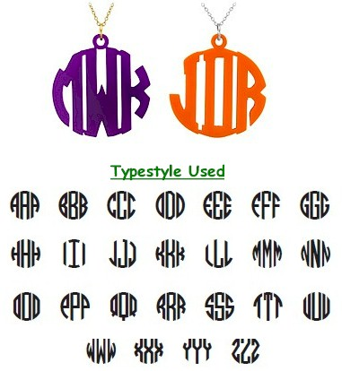 Acrylic Cut-Out Monogram Necklace - Block Circle Monogram