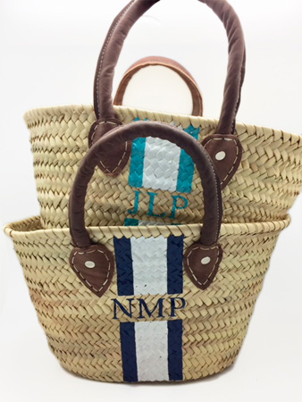 Abby Small Hand Painted Straw Tote Bags